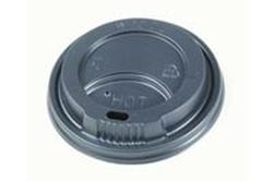 Billede af Plastlåg højt sort til papbæger diameter 80 mm,10 ps x 100 Stk/krt