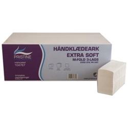 Billede af Håndklædeark Pristine Extra soft M fold 3 lag nyfiber 20.6x32x8 cm,25 pk x 100 Stk/krt