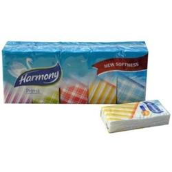 Billede af Lommetørklæde Harmony Prima 3-lag hvid 21x21 cm udfoldet,10 x 10 stk/pk